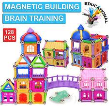 128Pcs Kids DIY Magnetic Block Educational Brain Training Building Castle Toy
