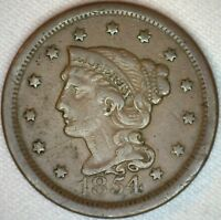 1854 Braided Hair Liberty Head Large Cent US Copper Type One Cent Coin Fine K43