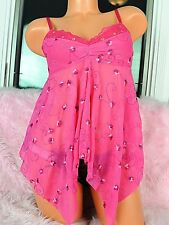 NWT VS Sheer Pink Nylon Embroidered Floral Sissy Sexy Camisole Nightie Top sz M