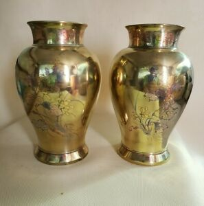 """2 ANTIQUE MEIJI PERIOD JAPANESE MIXED METAL VASES SIGNED 7"""" TALL"""