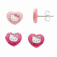 HELLO KITTY 2 Pack Glitter Stud Earrings for Pierced Ears Pink in Gift Box NWT