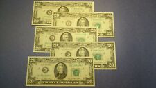Lot of Five Series 1977 Federal Reserve $20 Notes EF-AU+