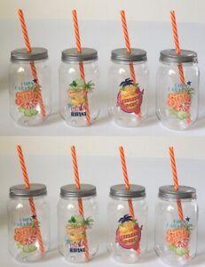 Trinkflasche, Trinkbecher aus Kunststoff mit Trinkhalm 8er Set versch. Designs