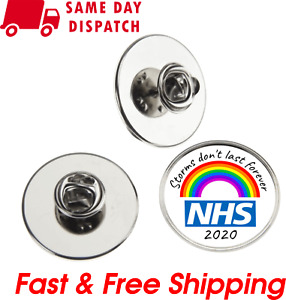 NHS BADGE STORMS DON'T LAST FOREVER THANK YOU RAINBOW NURSE DOCTOR LAPEL PIN