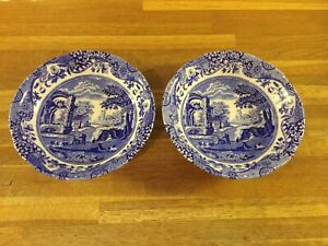 Spode - Blue Italian - Cereal Bowls x 2 - 16cm - Brand New Unused.