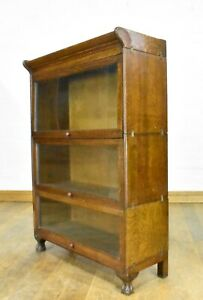Antique vintage Oak stacking sectional glazed bookcase