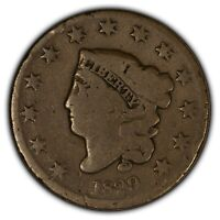 1829 1c Coronet Head Large Cent - Medium Letters - Better Date - SKU-Y2407