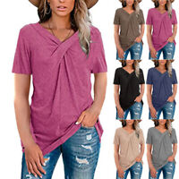 Summer Ladies Short Sleeve Tunic V-neck Tops Solid Color Blouse Loose T-shirts