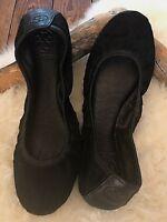 Tory Burch Women's Eddie Calf Hair Ballet Flats Black Size 9.5 MSRP $240 CD43