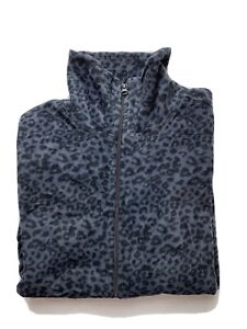 Old Navy Womens Fleece Jacket Size M Zip Animal Print Leopard