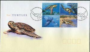 2002 Cocos (Keeling) Islands Sea Turtles Block Of 4 FDC, Mint Condition