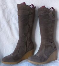 FIORE MATALAN Size 5/38 COFFEE COLOURED FAUX SUEDE KNEE HIGH BOOTS VGC FREE P&P