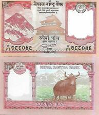 Nepal P76, 5 Rupee, Mt Everest, temple, coin / yak, 2017, UNC see UV