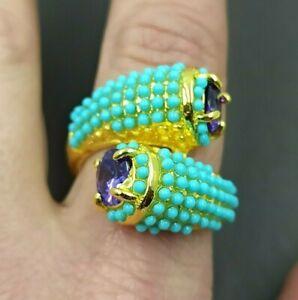 grande anello contrariè da cocktail di design perline turchesi designer ring