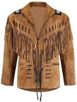 men handmade NATIVE AMERICAN leather jacket shirt