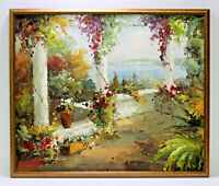 Garden Terrace Italy Coast 20 x 24 Art Oil Painting on Canvas w/ Wooden Frame