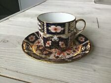 Royal Crown Derby Traditional Imari Flat Cup & Saucer Set