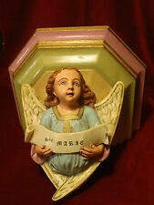 MAGNIFIQUE ANCIENNE CONSOLE MURALE RELIGIEUSE ANGELOT STE MARIE SUPPORT STATUE