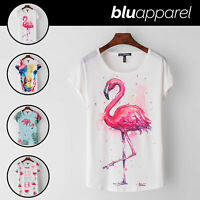 Ladies T-Shirt Flamingo Summer Womens Casual Tops Blouse Short Sleeve Crew Neck