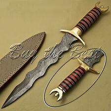 BEAUTIFUL CUSTOM HAND MADE DAMASCUS STEEL HUNTING KNIFE / WAVY DAGGER KNIFE