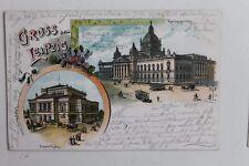 29365 Litho AK Gruß aus Leipzig Reichsgericht Straßenbahn und Konzerthaus 1899