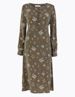 M&S PER UNA Midi Dress Khaki Floral Cupro UK12 EUR40 BNWT £55