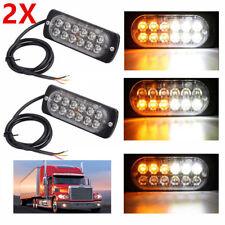 2× 12 LED Warning Strobe Light Flashing Car Vehicle Emergency Lights White/Amber