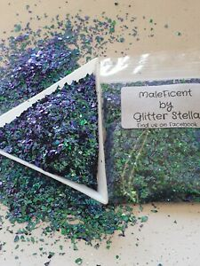 Nail Art Mixed Glitter 10g Bag  ( Maleficent ) Shards Flakes Blue/ Green Xmas