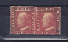 SICILY 1859   pair  stamps  5  gr   - hinged - signed