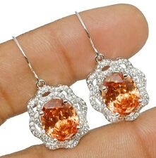 Padparadscha Sapphire & White Topaz 925 Solid Sterling Silver Earrings Jewelry