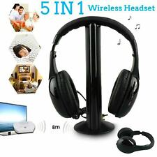 Inalámbrico 5 IN 1 Auriculares Fm Monitor CD Audio PC MP3 TV con Cable