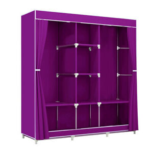 "Portable Clothes Closet Fabric Wardrobe Double Rod Storage Organizer Purple 46"""