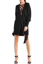$2985 BALMAIN LACE-UP CREPE MINI DRESS 34 6 0 XS black France jersey sexy tunic