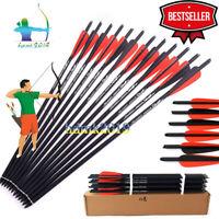 "6/12/24x Archery Bolts Crossbow Carbon Arrow 20""Spine 400 For Recurve/composite"