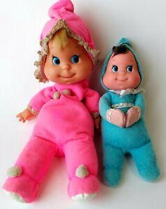 """VINTAGE 1970 MATTEL 12"""" PINK BABY BEANS 8"""" BLUE BABY BEAN PLUSH BEAN TOY"""