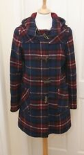 Original Montgomery women's warm plaid check wool blend hooded duffle coat uk 8