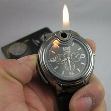 Mens Watch Stainless Steel Black Big Dial Watch Cigarette Lighter Wristwatch
