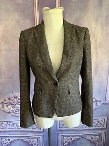 Ann Taylor Espresso Textured Tweed Virgin Wool & Cotton Blazer SZ 6 Jacket 1 Btn