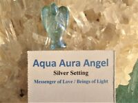 AQUA AURA Quartz ANGEL Silver Pendant-24K Gold Infused Quartz=Sky Blue Angel!