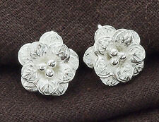 Karen Hill Tribe Silver 2 Flower Pendants 14mm.