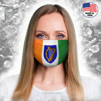 Irish Flag Face Mask with Heraldry Harp- Washable,reusable,soft -Free shipping