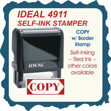 COPY w/border, Custom Made  Trodat / Ideal Self Inking Rubber Stamp Red Ink
