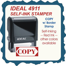 COPY w/border, Custom Made  Trodat / Ideal 4911 Self Inking Rubber Stamp Red Ink