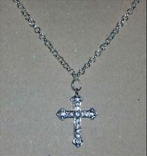 collana croce in argento indiano e acciaio strass zirconi unisex  uomo donna
