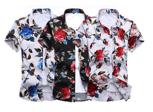 Floral Print Short Sleeve T Shirt For Men Comfortable Plus Size Men Camiseta