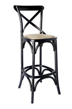 Classic French Design Natural Oak Timber Black Bar Stool 65cm - 2x Pcs