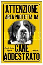 GRANDE BOVARO SVIZZERO AREA PROTETTA TARGA ATTENTI AL CANE CARTELLO PVC GIALLO
