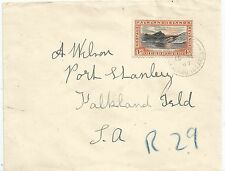 "FALKLAND IS  1933 CENT 4d ON REGD ENVELOPE BLUE CRAYON ""R29"" REG SCARCE USAGE"