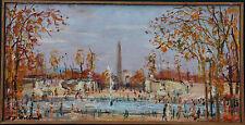 Serge BELLONI Peinture huile sur panneau oil painting Vue des Tuileries Paris *