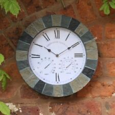 Outdoor indoor Garden Wall Clock Thermometer Hand Painted, 15 inch Slate Effect